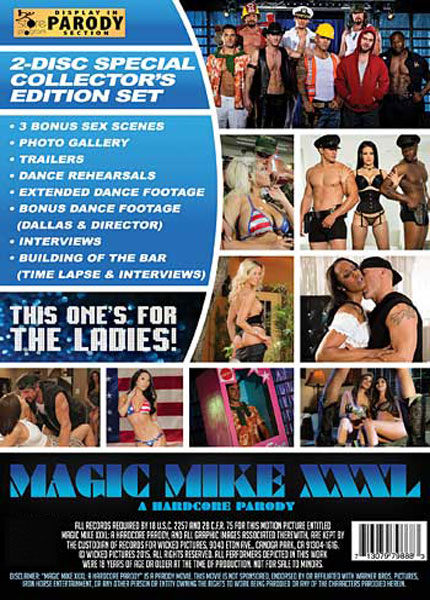 Magic Mike XXXL, A Hardcore Parody, Porn DVD, Wicked Pictures, Brad Armstrong, Derrick Pierce, Jessica Drake, Misty Stone, Asa Akira, Ryan McClane, Seth Gamble, Tommy Gunn, Ryan Driller, Katrina Jade, Adriana Chechik, Kendra Lust, Bridgette B., Jessa Rhodes, Amirah Adara, Dick Chibbles, Tony Martinez, Rob Piper, Feature, Made For Women, Parody, For The Ladies