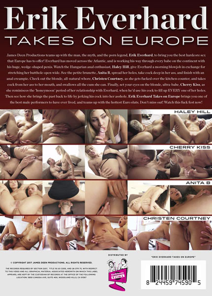Erik Everhard Takes On Europe, 2017 Porn DVD, James Deen Productions, All Sex, European, Big Cock, Ass to Mouth, Anal Sex, Anal Creampie, fuck fest