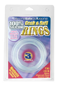 Cock and Ball Rings Silicone 3 Pc Set - Clear