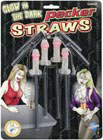 Glow In The Dark Pecker Straws 4 pc.
