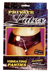Latex Erotic Wear Vibrating Panties - Black
