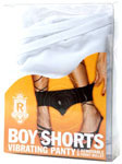 Boy Shorts Vibrating Panty - White SM/MED