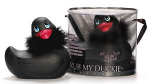 I Rub My Duckie Paris Black w/Boa and Crystal