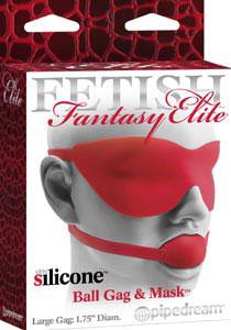 Fetish Fantasy Elite Silicone Ball Gag & Mask Large- Red