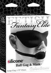 Fetish Fantasy Elite Silicone Ball Gag & Mask Large- Black