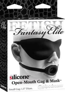 Fetish Fantasy Elite Silicone Open-Mouth Gag & Mask Small - Black