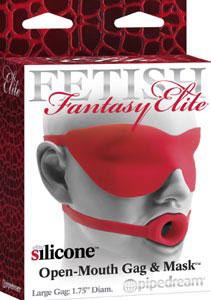 Fetish Fantasy Elite Silicone Open-Mouth Gag & Mask Large - Red