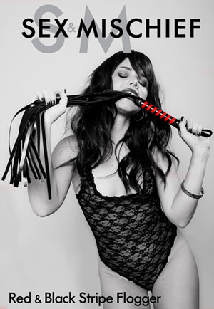 Sex & Mischief- Black and Red Stripe Flogger