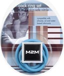 M2M Nitrile Cock Ring Set - Blue
