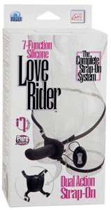 7 Function Silicone Love Rider Dual Action Strap On - Black