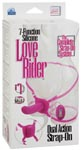 7 Function Silicone Love Rider Dual Action Strap On - Pink