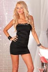 Pink Lipstick Sequin Edge Mini Dress Black M/L