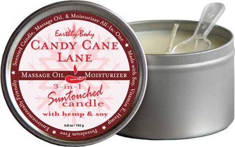 Earthly Body 3 In 1 Candle - 6.8 Oz Candy Cane Lane