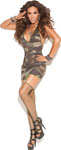 Vivace Mini Dress W/Garters Diamond Net Stockings Camouflage O/S
