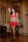 4 Pc Bj's Lube Girl Bra Mini Skirt W/Checker Waistband G-String & Rag Red Queen