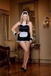 4pc Maid Me Dirty Apron Maid Cap French Cuffs Panty W/Dirty Screen Print Black/White Qn