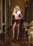 5 Pc Sexy Techie Shirt Mini Skirt Necktie Glasses & G-String Black/White O/S