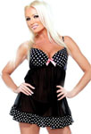 Underwire Babydoll W/Polka Dot Detail & G-String Black M/L
