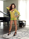 Stretch Fishnet Dress W/Open Back G-String & Neck Collar Lime O/S