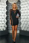 3/4 Sleeve Mesh Side Panel Dress Black Lg