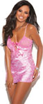 Charmeuse Print Chemise W/Lace Cups Candy Pink Xl