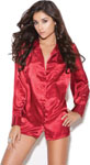 Charmeuse Satin Long Sleeve Sleep Shirt Red 2x
