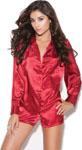 Charmeuse Satin Long Sleeve Sleep Shirt Red Lg