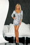 Low Cut Sequin Dress Silver Lg