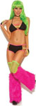 Neon Nites String Bra Top & Booty Shorts W/Neon Straps & Gloves Black O/S