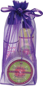 Earthly Body Summer Skin Care Bag - 8 Oz Guavalava Glow Oil Dare To Be Bare & 6.8 Candle