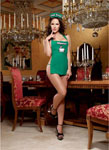 3 Pc Halter Apron Panty & Barista Cap W/Naughty Coffee Screen Print Green O/S