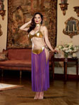 3 Pc Halter Bra W/Coin Trim Thong W/Attached Mesh Skirt & Neck Collar W/Chain Leash Gold Qn