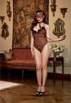 3 Pc Stretch Knit Halter Teddy W/Attached Tail Mask & Collar W/Leash Leopard Qn