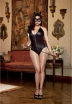 4 Pc Halter Romper W/Zip Front & Attached Tail Cat Ears Headband Mask & Whip B Black Qn
