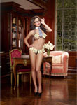 5 Pc Open Cup Halter Bra & Thong W/Removable Sticky Notes Collar Neck Tie & Glasses Blk O/S