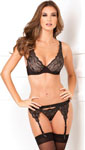 Rene Rofe Lux Lace Garter & Thong Set Black