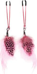 Bijoux De Nip Colored Feather W/Pink Tweezer Clamp