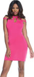 Bodycon Dress W/Strappy Shoulder Details & Three Keyhole Chest Cutouts Pink Md
