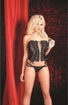 Bustier W/Sequin Panels Lace Up Front Hook & Closure Back & Double Strap G Black Lg