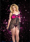 Cross Over Lace Babydoll & G-String Black/Pink 2x