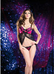 Cross Over Lace Babydoll & G-String Black/Pink Sm