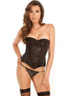 Rene Rofe Signature Starlight Dancer Corset W/Contoured Boning & G-String Black Xl