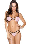 Tease Two Tone Stretch Lace Bra W/Cutout Panty Set Pink/Black O/S