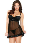 Tease Shirred Cup Babydoll W/Matching G-String Black S/M