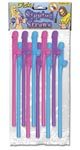 Bachelorette Party Favors Dicky Sipping Straws - Pink and Purple 10 Piece