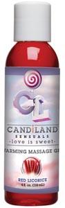 Candiland Sensuals Warming Massage Gel - Red Licorice - 4 Oz