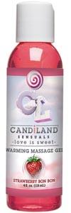 Candiland Sensuals Warming Massage Gel - Strawberry Bon Bon - 4 Oz
