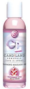 Candiland Sensuals Warming Massage Gel - Peppermint Stix - 4 Oz