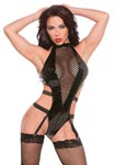 Vinyl Halter Teddy - Black - One Size