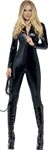 Fever Miss Whiplash Zip Up Catsuit - Black - Small